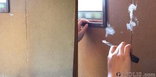 砂壁のヒビ割れを補修する
