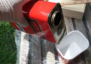 ステイン塗料の注ぎ方