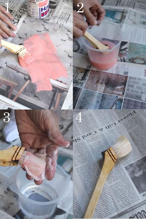 水性塗料に使った刷毛の洗浄方法