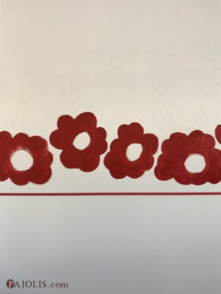 赤い花びらペイント